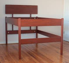 brown wood high raised platform bed frame for queen size