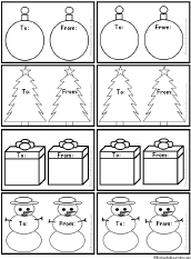 Black-and-White Christmas Gift Tags #3 to Print: EnchantedLearning.com