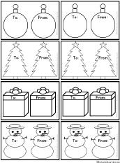 Black-and-White Christmas Gift Tags #3 to Print: EnchantedLearning.com