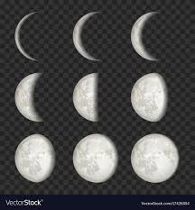 Moon Pattern Gorgeous Set Of Moon Phases On Transparent Royalty Free Vector Image
