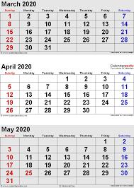 April May 2020 Calendar Printable April 2020 Calendars For Word Excel Pdf