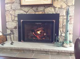 mendota full view 44 gas fireplace insert with vintage iron grace front copper cornices with