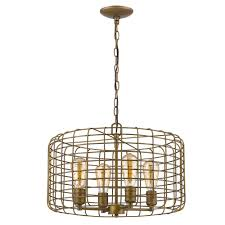 acclaim lighting lynden 4 light raw brass drum pendant with wire cage shade