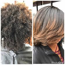 before after silk press on natural hair using by l jones products