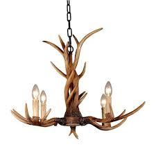 rural countryside deer horn antler chandelier 4lt
