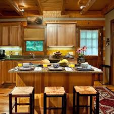 Rustic Granite Countertops Kitchen Hickory Kitchen Cabinets Kitchen Island Wood Flooring
