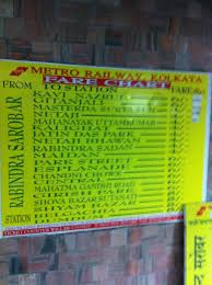 Metro Rail Fare Chart Fare Chart Of Metro Railway In Kolkata At Rabindra Sarobar