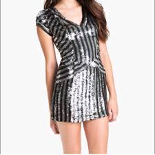 Nwt Parker Silver Grey Sequin Stripe Dress S Brand New With