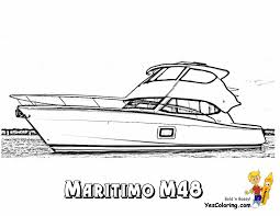 Small Picture Cool Yacht Coloring Page of 48 Foot Motor Boat Free Sharp Ships
