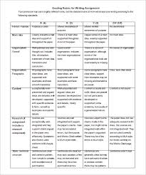rubric word excel pdf format  writing assignment grading rubric