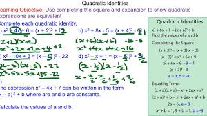using completing the square to solve quadratic identities