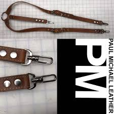 natural leather suspenders with bullet snaps