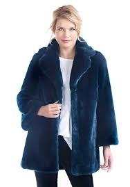 navy mink notch collar faux fur coat 1