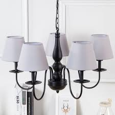 country style conical hanging lamp metal 5 lights chandelier light in black finish for bedroom