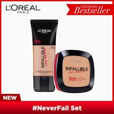 neverfail set infallible pro matte liquid foundation 103 natural buff and infallible