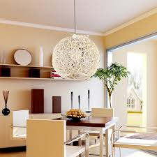 pendant lighting dining room. Woven Ball Shaped Pendant Lighting For Minimalist Dining Room Ideas Using Wooden Table