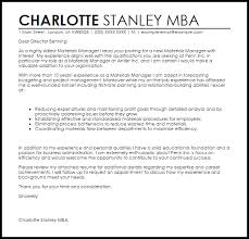 materials manager cover letter sample livecareer