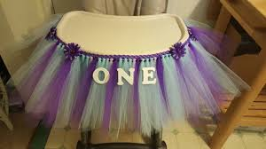 high chair tutu tulle table skirt banner highchair decoration blue purple lavender princess mermaid ballerina 1st first birthday party cake