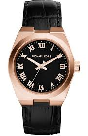 las watch michael kors channing rose gold black leather strap mk2358 e oro gr michael kors watches