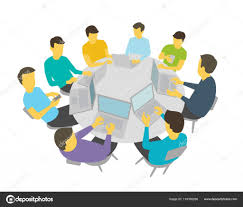 round table talks group of people students team having meeting conference white background