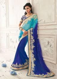 beauteous blue and turquoise chiffon wedding saree beauteous pink blue
