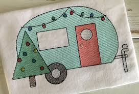 Embroidery Camper Designs Christmas Camper Christmas Tree Filled Sketch Embroidery