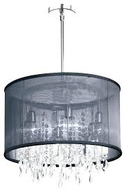 drum chandelier with crystal shade silver mist hanging black 6 light organza drum chandelier with crystal crystals pendant