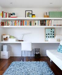 office floating shelves. Desk With Shelves Above Contemporary Home Office And Blue Area Rug Bookshelves  Floating Shelf Trash Office Floating Shelves O