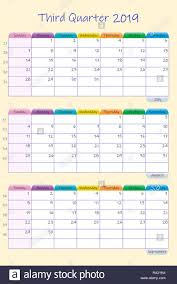 Vertical Weekly Calendar Vertical Calendar For Third Quarter Of 2019 Year With Weekly Planner