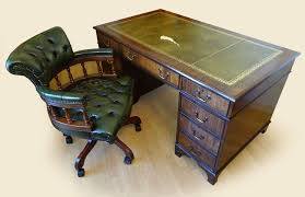antique style leathertop pedestal writing desk key cesterfield captains chair delivery