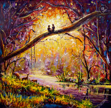 original oil painting in dream forest of love on canvas beautiful romance landscape art