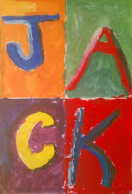 i know a lot of art teachers do projects inspired by jasper johns s alphabet painting below here is my take on it i cover two concepts with this fourth