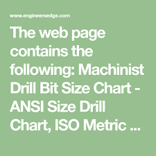 The Web Page Contains The Following Machinist Drill Bit