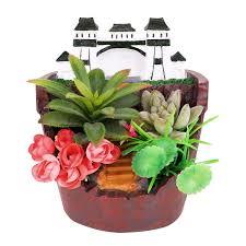 Succulent Pot Design Akarden Fairy Garden Diy Mini Succulent Pot Fairy Design Sweet House For Decoration Indoor Decoration And Gift Brick Red