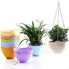 colorful decorative hanging planter with flexible metal chain wall flower pot sky basket succulent plants plastic interior popular wall hanging planters