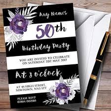 Black And Purple Invitations Amazon Com Black White Silver Purple Flower 50th