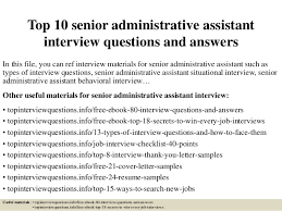 Interview Questions For Executive Assistants Top 10 Senior Administrative Assistant Interview Questions And