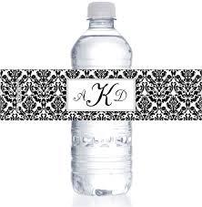 wedding bottle label wedding damask water bottle labels