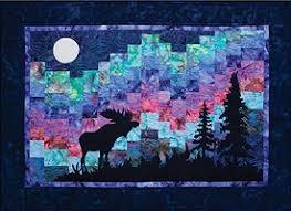 Moose and northern lights in Alaska | Northern Lights Moose Quilt ... & Moose and northern lights in Alaska | Northern Lights Moose Quilt Kit Adamdwight.com