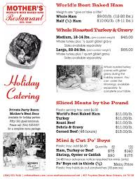 Holiday Menu Mothers Restaurant Mothers Holiday Menu New Orleans Worlds