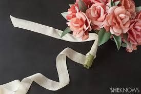 Paper Ribbon Flower Diy Paper Rose Bridal Bouquet Sheknows