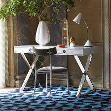 trendy home office. Glamour Home Office With Channing Desk And Steel Chair Furniture Gray Cushion White Table Lamp Over Size Vase Chevron Pattern Trendy S