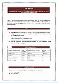 48 Inspirational Gallery Of Resume format for Mba Marketing Fresher