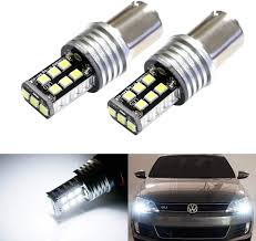 Ijdmtoy 2 Xenon White 15 Smd Led Replacement Bulbs For 2011 2017 Volkswagen Mk6 Jetta For Daytime Running Lights