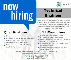 Technical Engineer Job Description New Job Openings Redox Chemical Industries