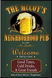personalized custom neighborhood pub sign