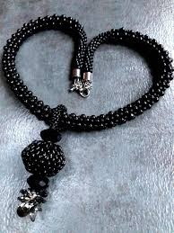 black pearls n crystals necklace and earrings set with detachable pendant ihimo