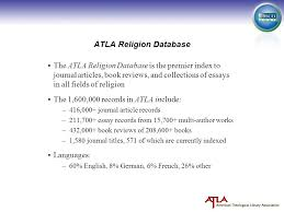 atla religion database the atla religion database is the premier  1 atla religion database