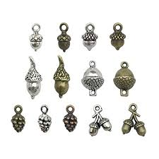 100g pine cone acorn charms collection small silver bronze copper colors metal alloy pendants hm95