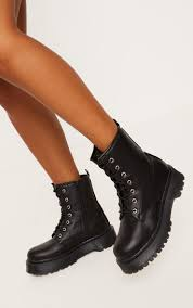 black chunky sole lace up ankle boot image 1